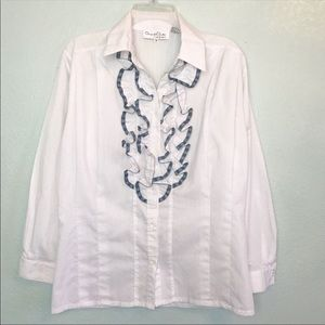 Vintage ODLR Expressions White Collared Ruffle Top
